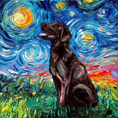 Chocolate Labrador Lab Wall Art Print Dog Starry Night van Gogh Decor by Aja
