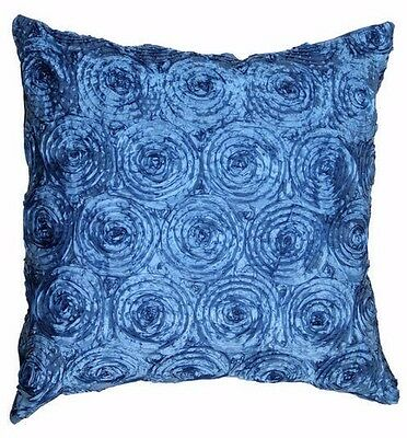 PACK OF 4 3D ROSE FLOWER SPIRAL EFFECT CUSHION COVER 43x43cm BROWN RED GOLD TEAL