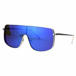 Super-Oversized-Sunglasses-Futuristic-Shield-Metal-Frame-Mirrored-Lens