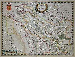 Clivia-Ducatus-Et-Ravestein-Dominum-Blaeu-1640-Herzogtum-Kleve-Altkoloriert