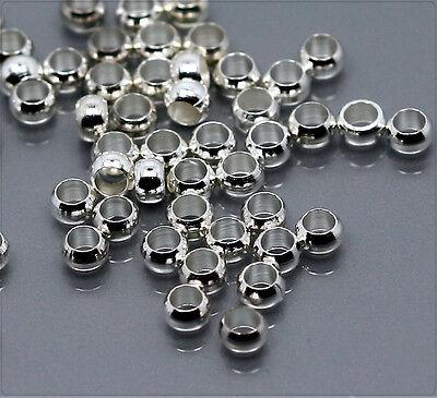100x Quetschperlen Crimps 2mm silber sz199s