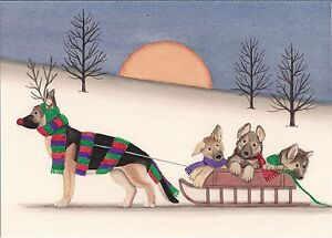Christmas cards german shepherd family takes holiday sled ride image is loading christmas cards german shepherd family takes holiday sled m4hsunfo