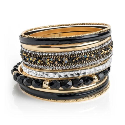 Nuevo Y Etiqueta Efecto de oro de 9 piezas Cristal y Negro Tono Brazaletes RRP £ 6.00