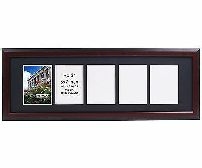 Creativepf 5 Opening Multi 5x7 Mahogany Picture Frame W 10x32 Black