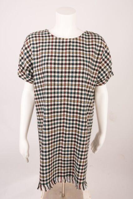 a85ab665ce8 ZARA Women s Dress Shift Tweed Frayed Houndstooth Black White Small  4661 315 Nwt