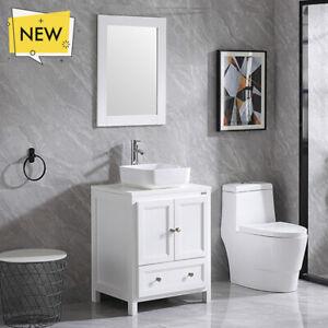 24 Inch Single Sink Bathroom Vanity Set W Ceramic Vessel Sink Mirror Faucet Ebay