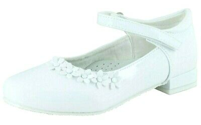 NEW GIRLS WHITE LEATHER INSOLES COMMUNION HEELS WEDDING PARTY FORMAL DRESS SHOES