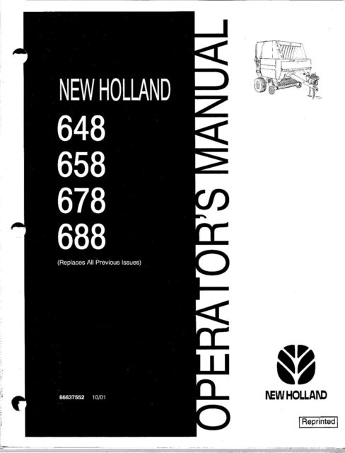 holland 648 658 678 688 round baler operator manual ebay rh ebay com new holland 658 operator's manual New Holland 140Tl Manuals
