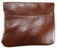 Leather Squeeze Coin Pouch Usa Made, Chestnut