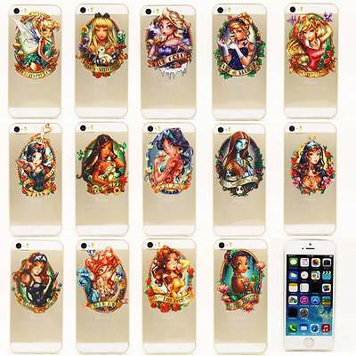 i5 Ultra Thin 0.3mm Disney Tattoo Princess Rubber PC Back Case For iPhone 5S SE