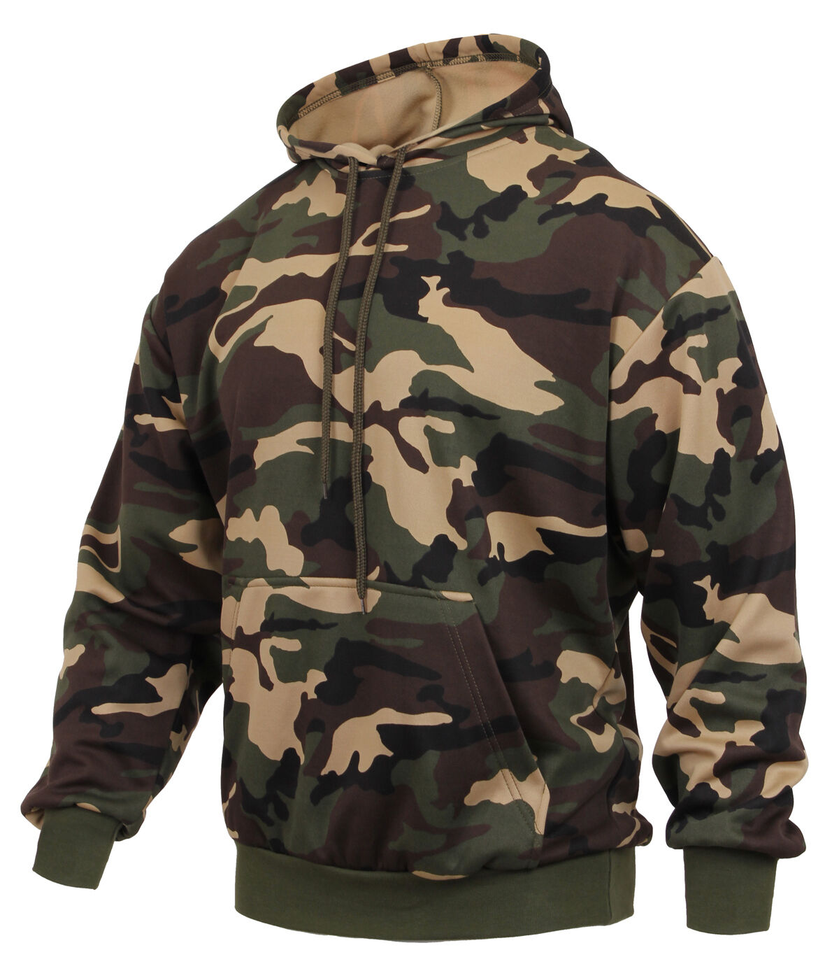 Hoodie woodland camo performance polyester material sweatshirt rothco 2871