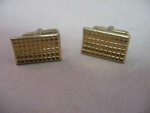 Brushed Texture Center Rounded Border Gold Tone Vintage Cufflinks for Men