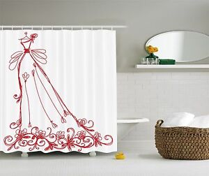 Chic Fashion Diva Red Dress Graphic Shower Curtain Glamour Floral
