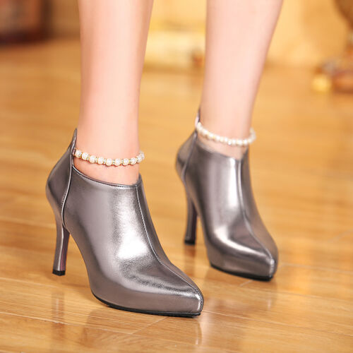X Women Classics Dress Shoes Pointy toe Peral Buckle Back Zipper OL Party shoes