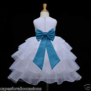 a308f0f77 Details about WHITE TIERED ORGANZA FLOWER GIRL DRESS PAGEANT WEDDING  BRIDESMAID 2 4 5T 6 8 10