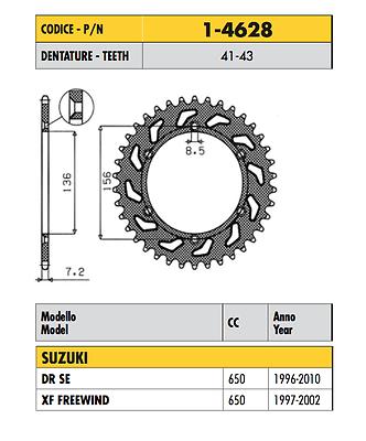 1-4628 - Corona Passo 525 Suzuki Dr Se 650 1996 1997 1998 1999 2000 2001 2002