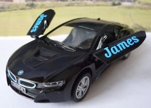 Personalised Name Gift Black Bmw I8 Boys Toys Dad Car Model