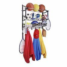 Sports Equipment Rack Wall Mount Garage Storage Balls Shoe Glove Racket