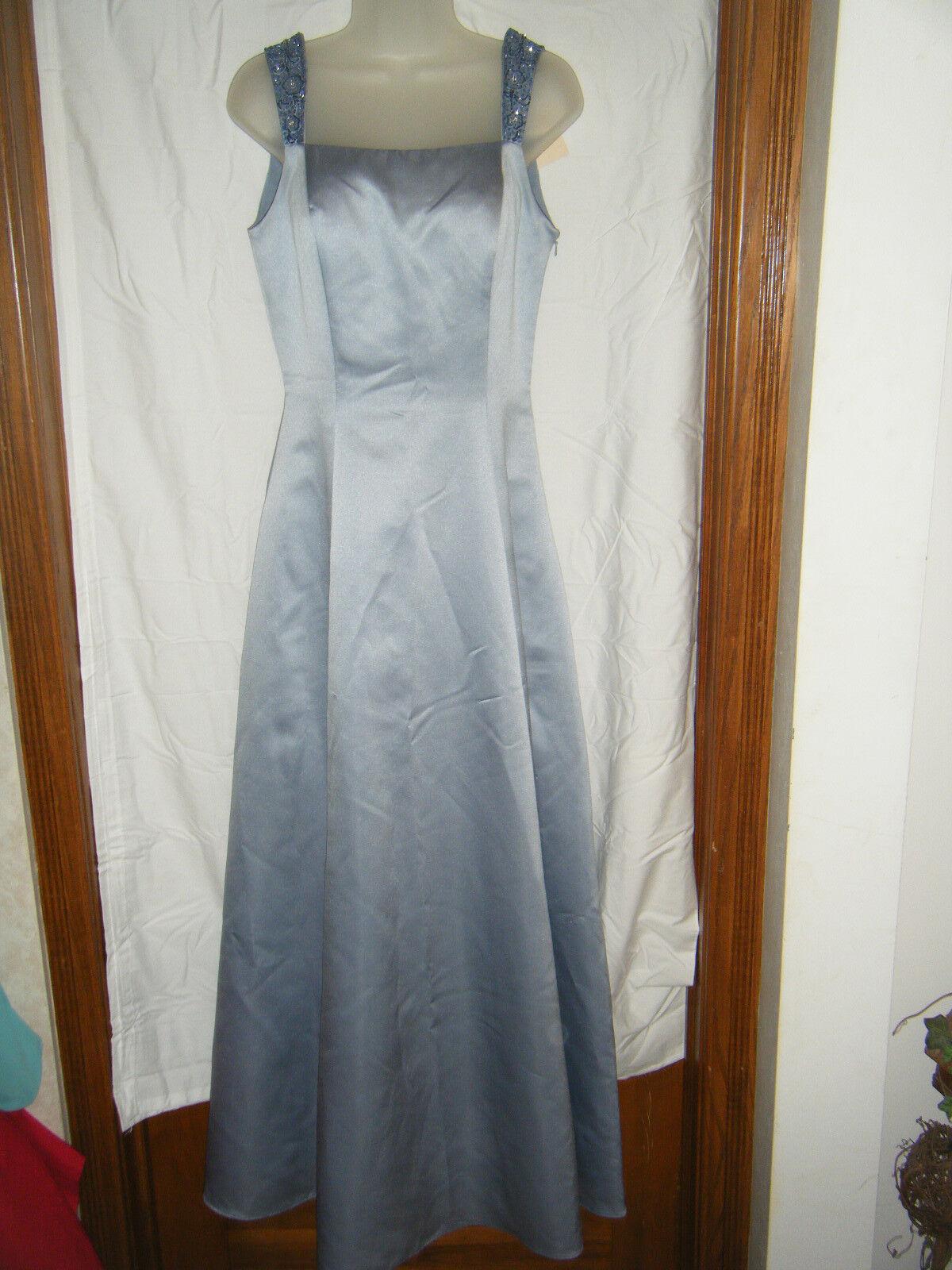 Ladies Precious Formals Satin Evening Dress w Beaded Straps - Size 6