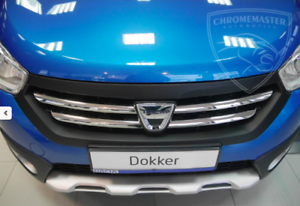 dacia dokker lodgy chrome kit front grille covers trim 3m tuning 4 pcs ebay. Black Bedroom Furniture Sets. Home Design Ideas