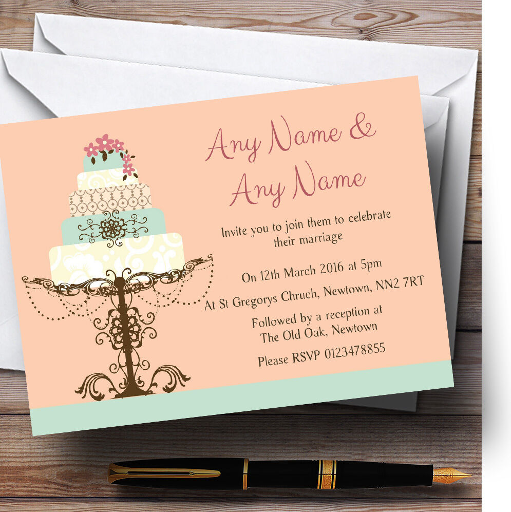 Classical Cake Beautiful Personalised Wedding Invitations