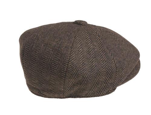 100/% LANA MARRONE SCURO Spina Di Pesce Cappello Da Strillone Cappello
