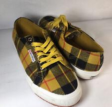 Superga Tartan Plaid Gold-Yellow Black Wool Cotton Blend Sneakers Shoes Wms NWT