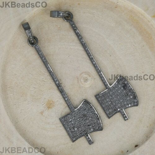 Details about  /Pave Diamond Silver Axe Hammer Charms Pendant 925 Sterling Silver 56x16mm