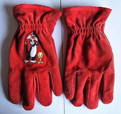 Cordiale Guanti Scamosciati(camoscio)rossi Silvestro & Titti Interno Pile Usati Raramente Ottima Qualità
