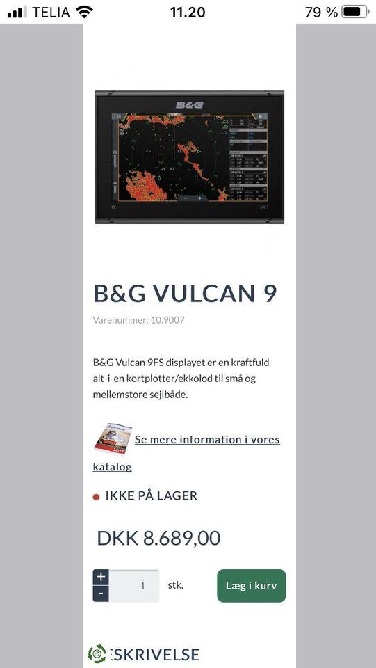 GPS/AIS/RADIO Gps fra B G - Vulcan 9 9 tommers...