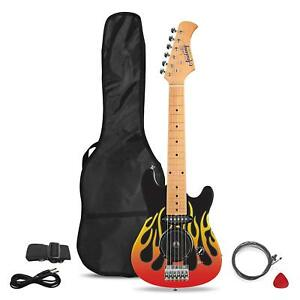 academy of music electric guitar for beginners with build in amp flames case 5031470219802 ebay. Black Bedroom Furniture Sets. Home Design Ideas