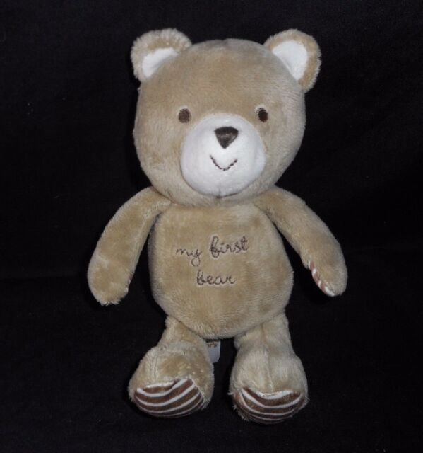 Carters Child Of Mine My First Teddy Bear Brown Tan Plush Green Bow Baby Toy