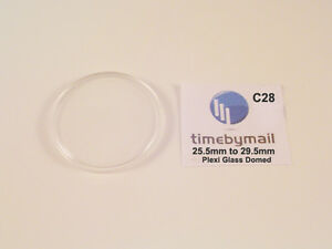 New Replacement Plastic Watch Crystal Domed Dome Plexi-Glass 25.5mm - 29.5mm C28