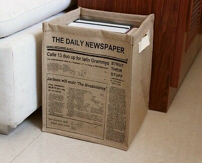 Newspaper books Toy Travel Stackable Linen Storage Laundry Basket Fold Bin R6