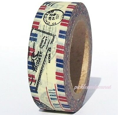 Washi Tape Paper Airmail Postage Postmark Air Mail Travel Journey Tissue Tape
