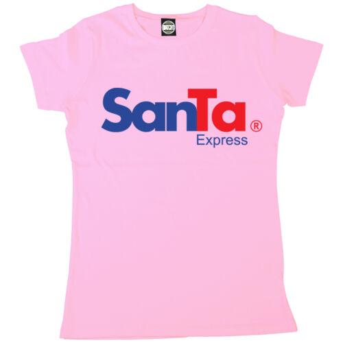 Santa express fedex style logo femme fun nouveauté père noël t-shirt