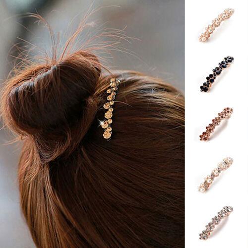 Hair Barrette Clip French Clips Barrettes Slide Slides Vintage Diamante Crystals