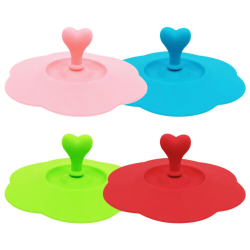 Heart-shaped Can Clip Spoon Silicone Cup Cover Seal Dust-proof Mug Lids Set of 4
