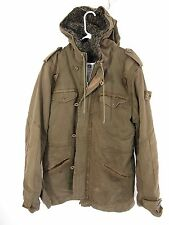 Ever Mens Olive Green Military Anorak Fur-Lined Heavy Thick Jacket Parka L