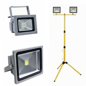 10w 50w baustrahler led floodlight fluter mit teleskop stativ strahler ip65 ebay. Black Bedroom Furniture Sets. Home Design Ideas