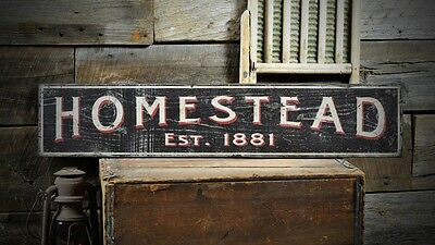 Custom Family Homestead Est. Date Sign -Rustic Hand Made Vintage Wood ENS1000537