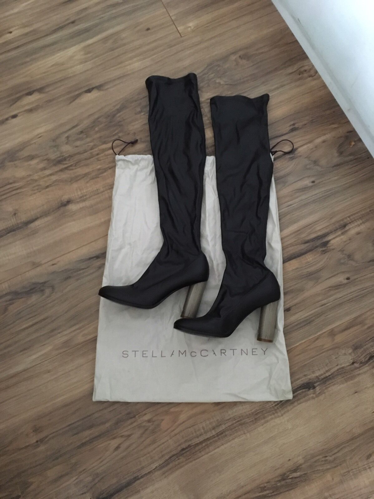 Over The Knee Boots Stella McCartney  Brown Faux Leather Thigh High Heel Boots