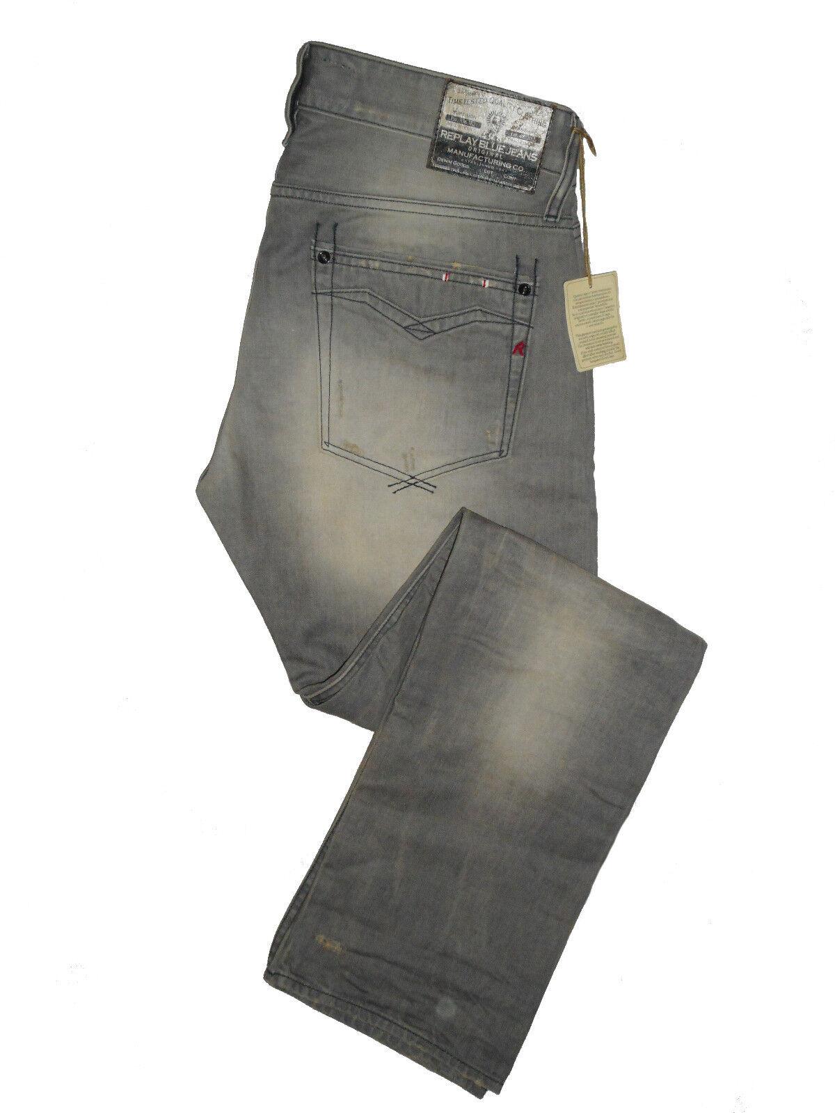 Replay NEWBILL Comfort Straight Fit W32 L34 Mens grau Denim Jeans