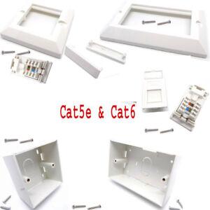 RJ45 Network Cat5e Cat6 1 & 2-Gang Modular Face Plate Back Box Blank Spacers Lot