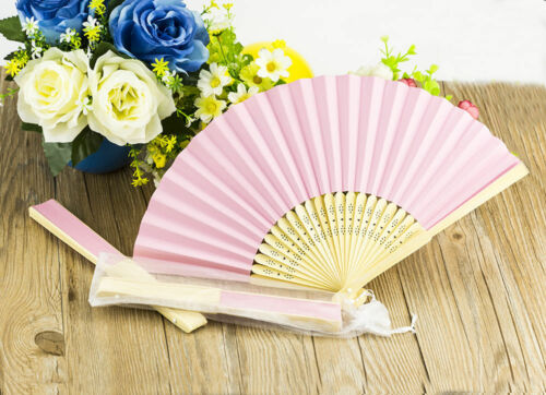 10pcs Stunning Pink Silk Fans With Gift Bag Bridal Wedding Favours Beach Party