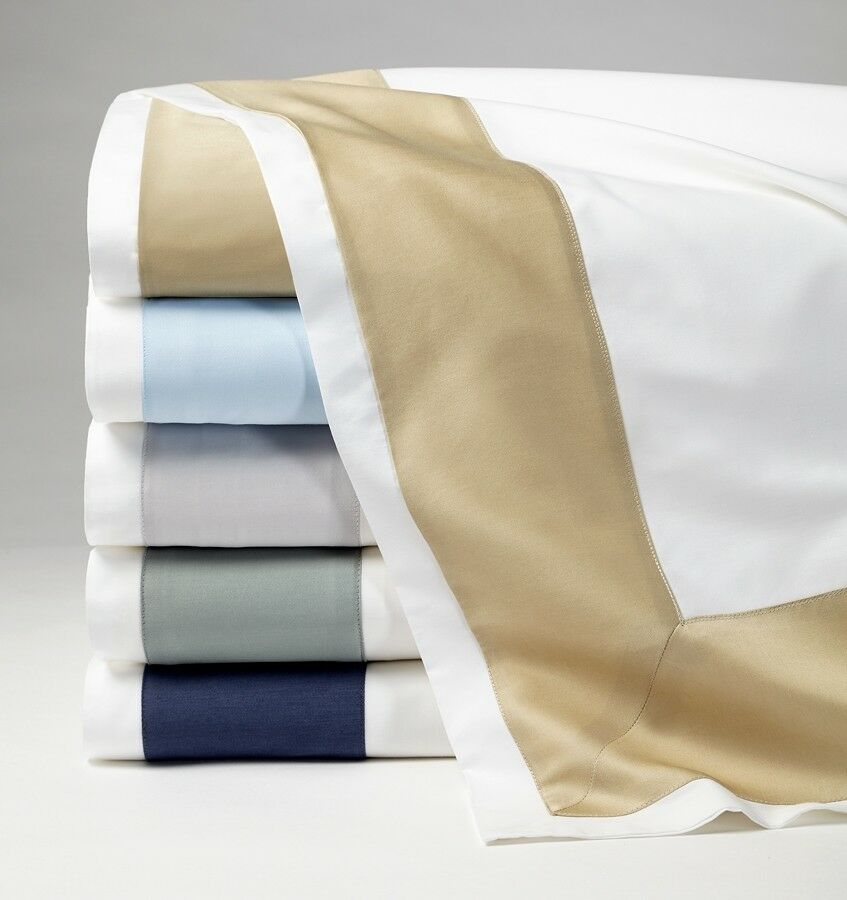 SFERRA ITALIAN CASIDA COTTON PERCALE FLAT SHEET WITH SATEEN APPLIQUE