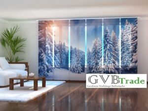 fotogardine winter schiebevorhang schiebegardinen vorhang gardine 3d fotodruck ebay. Black Bedroom Furniture Sets. Home Design Ideas