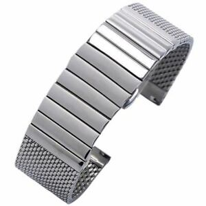 Silver-Black-Stainless-Steel-Watch-Band-Strap-20-22mm-Milanese-Mesh-Web-Strip