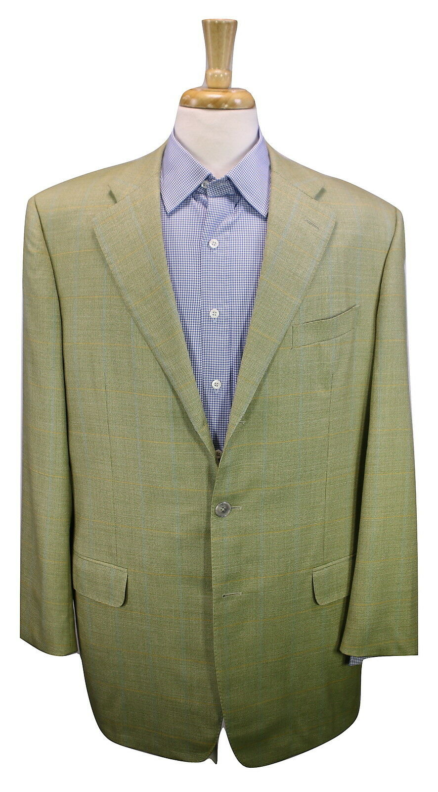ERMENEGILDO ZEGNA gold Green Woven Windowpane Super 100's Wool 3B Blazer 44L
