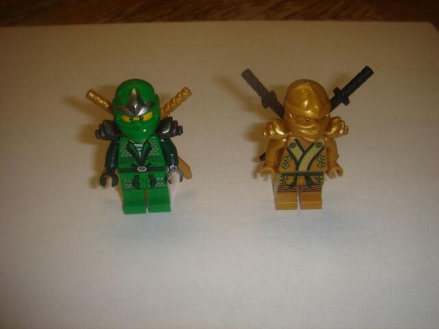 2 LEGO Ninjago green and gold ninja MINIFIGURES with weapons LOT new
